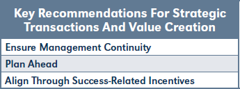Key Recommendations For Strategic Transactions And Value Creation
