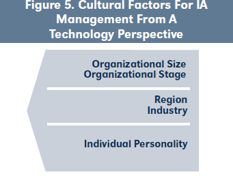 Figure 5. Cultural Factors For IA Management From A Technology Perspective