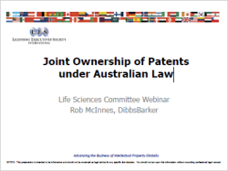 Joint Ownership of Patents under Australian Law